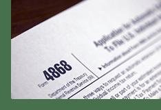 Tax Form 4868 - Filing Tax Extension